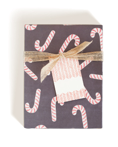 Candy Cane Wrap, Herringbone Tag, Jute Ribbon