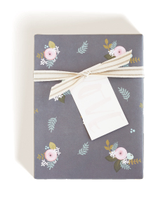 Spring Floral Wrap, Love Tag, Cotton Stripe Ribbon