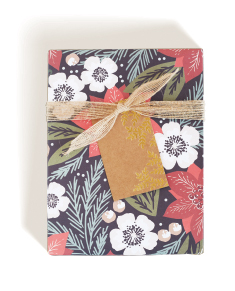 Winter Floral Wrap, Kraft Tag, Jute Ribbon