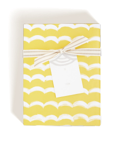 Yellow Swag Wrap, Grey Scallop Tag, Cotton Stripe Ribbon