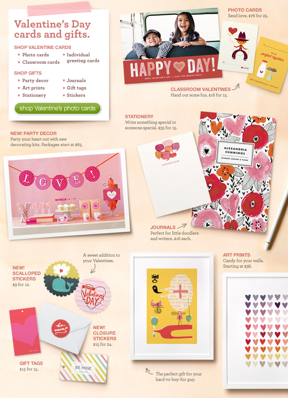 Valentine's Day cards and gifts.