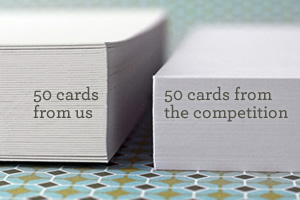 50 cards from us vs. 50 cards from the competition