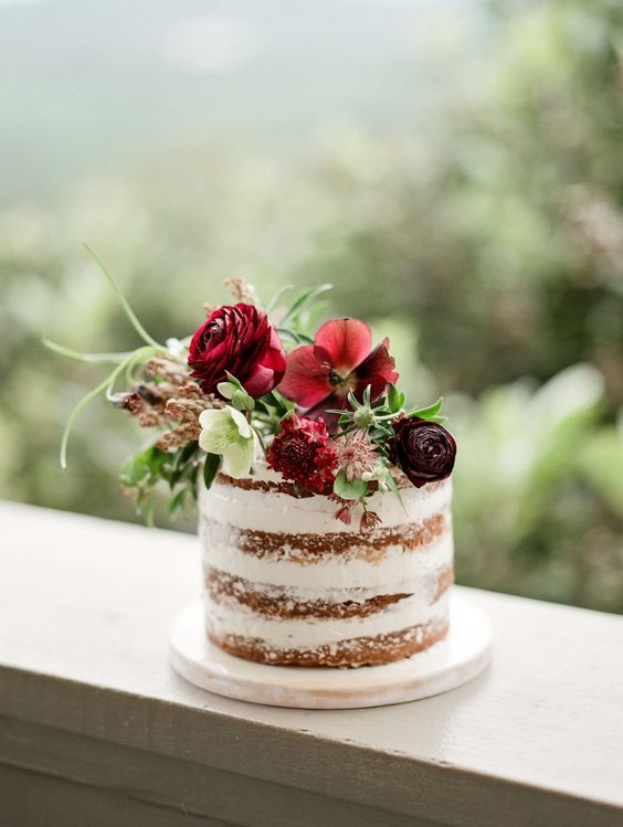 floral single tier naked cake