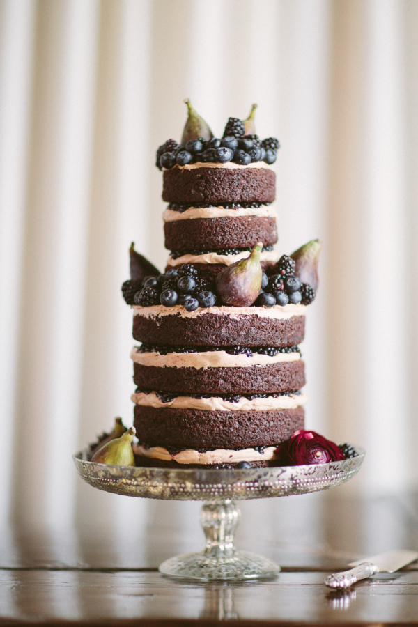 chocolate naked cake with fruit