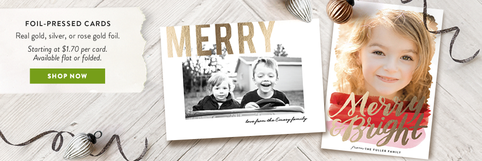 Foil-pressed holiday cards