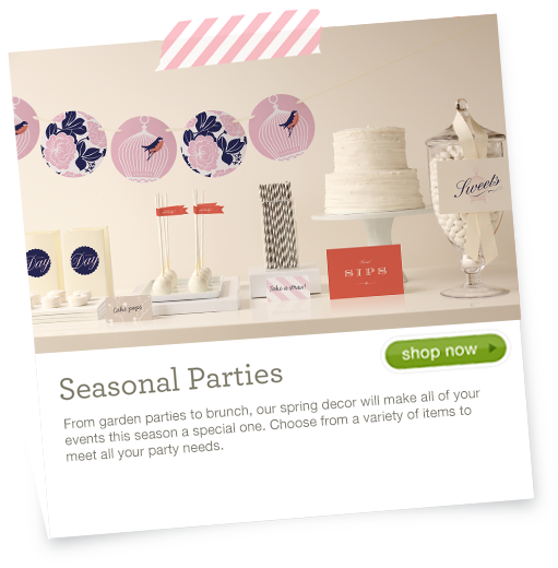 Seasonal Party - Create the celebration of your dreams with festive bunting, centerpieces, and other party decor details styled by indie designers.