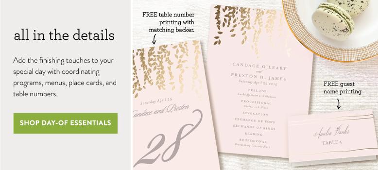 coordinating day-of wedding decor, matching program, menu card and place card