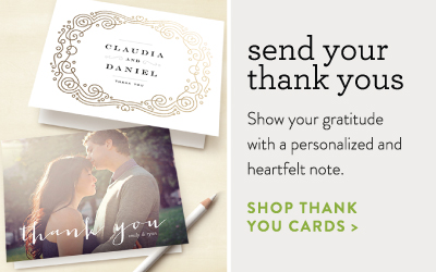 foil-pressed thank you card and folded photo thank you card from minted.