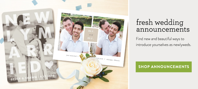 wedding announcement banner with two card designs from minted