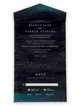 borealis All-in-One Foil-Pressed Wedding Invitations