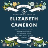 Banner and Branches Wedding Announcements
