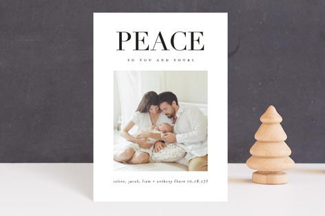 Perfect Peace Holiday Birth Announcement Postcards