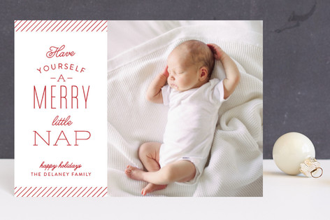 Merry Little Nap Holiday Birth Announcement Postcards