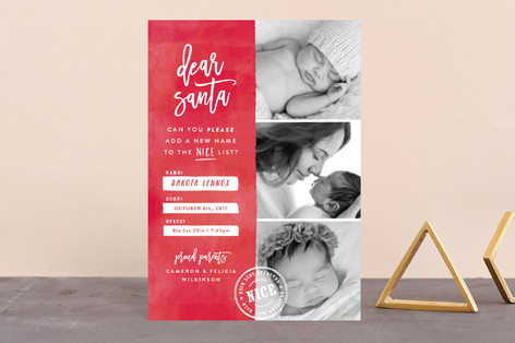 New Name on the List Holiday Birth Announcement Postcards