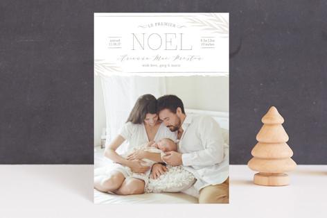 Le Premier Noel Holiday Birth Announcement Postcards