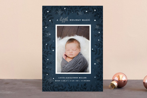 A Little Magic Holiday Birth Announcement Postcards