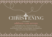Cross Pendant Baptism and Christening Invitations