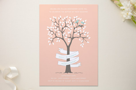 Nesting Family Baptism and Christening Invitations