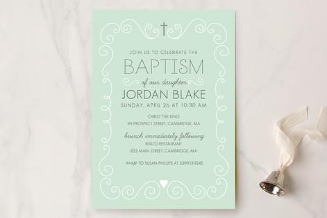 Swirls & Curls Baptism & Christening Announcements