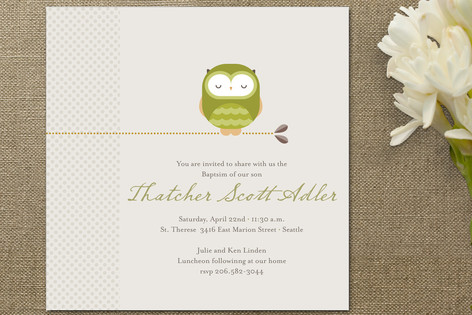 Sweet Owl Baptism and Christening Invitations