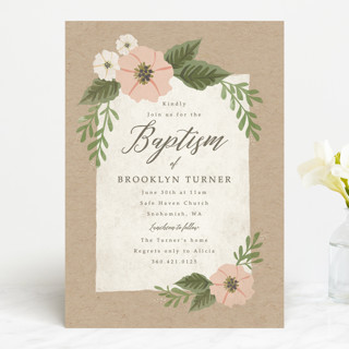 kraft and florals Baptism & Christening Announcements