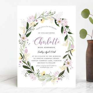 Floral Sprinkle Baptism & Christening Announcements