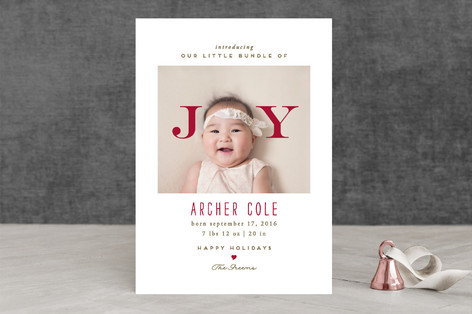 Bundle of Joy Holiday Birth Announcements