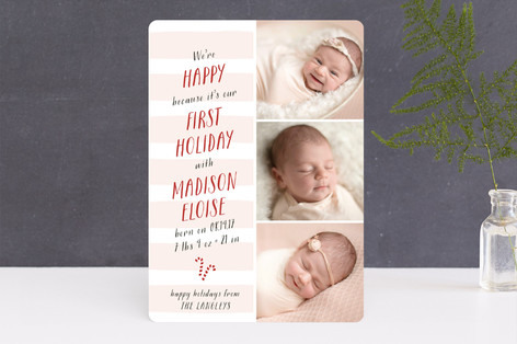 Merry First Christmas Holiday Birth Announcements