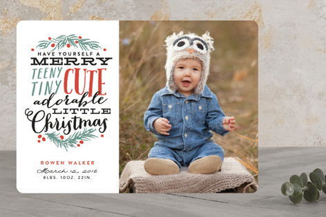 Merry Teeny Tiny Cute Adorable Little Christmas Holiday Birth Announcements