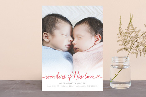 Wondrous Love Holiday Birth Announcements