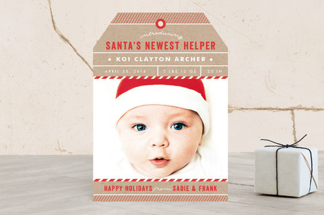 Santa's Newest Helper Holiday Birth Announcements