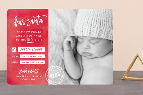 New Name on the List Holiday Birth Announcements