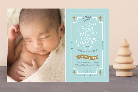 Good Tidings Holiday Birth Announcements