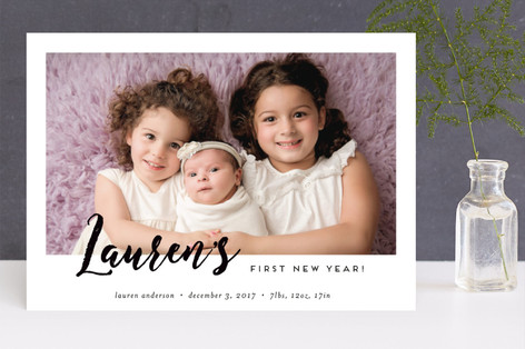 Baby's First New Year! Holiday Birth Announcements