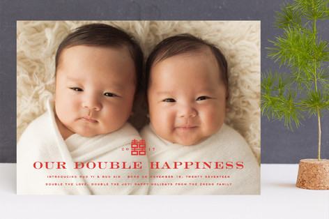 Our Double Happiness Holiday Birth Announcements