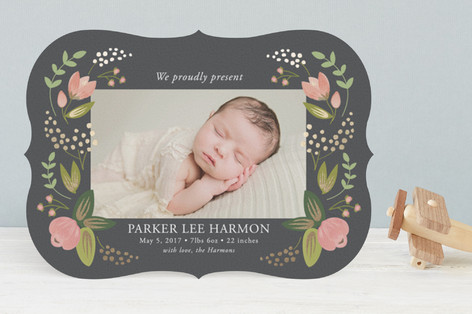 Floral Bounty Foil-Pressed Birth Announcements