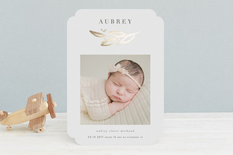 Gold Leaf Foil-Pressed Birth Announcements