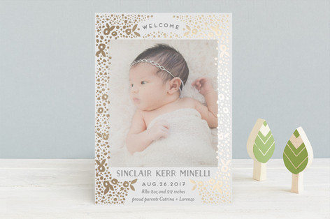 millefiori Foil-Pressed Birth Announcements