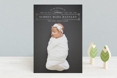 dapper nameplate Foil-Pressed Birth Announcements
