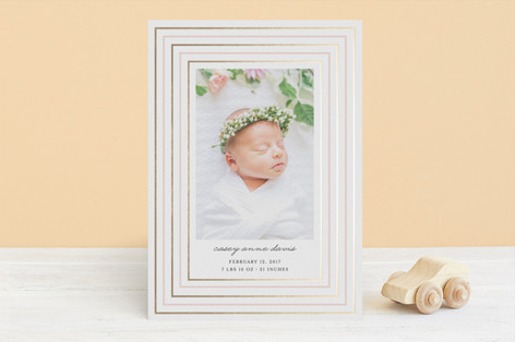 Foiled Frame Foil-Pressed Birth Announcements