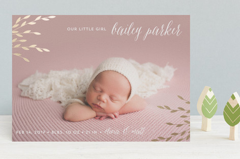 Shiny leaves Foil-Pressed Birth Announcements