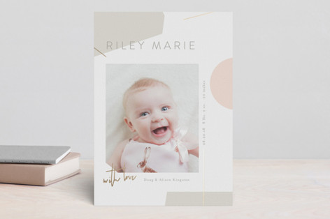 Abstract Foil-Pressed Birth Announcements