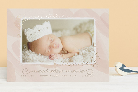 Pretty Lovely Foil-Pressed Birth Announcements
