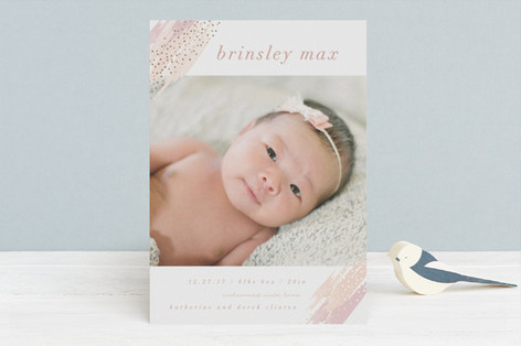 splattered celebration Foil-Pressed Birth Announcements