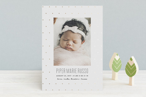 Classic Dots Foil-Pressed Birth Announcements