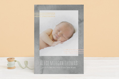 Minimal Lines Foil-Pressed Birth Announcements