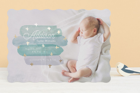 Artfully Named Foil-Pressed Birth Announcements