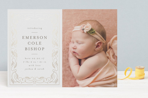 Our Story Foil-Pressed Birth Announcements