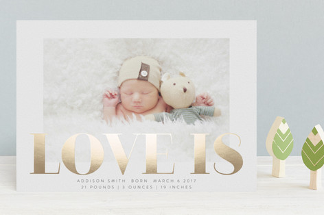 Bold Love Is Foil-Pressed Birth Announcements