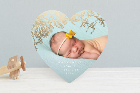 Engraved Flowers Foil-Pressed Birth Announcements